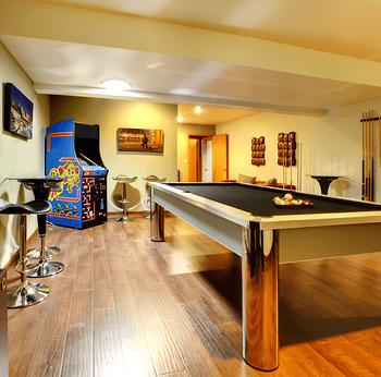 Basement Development Design Elements Sectional Pool Table Image