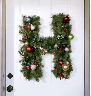 High-End DIY Christmas Decor Ideas Monogrammed Christmas Wreath Image